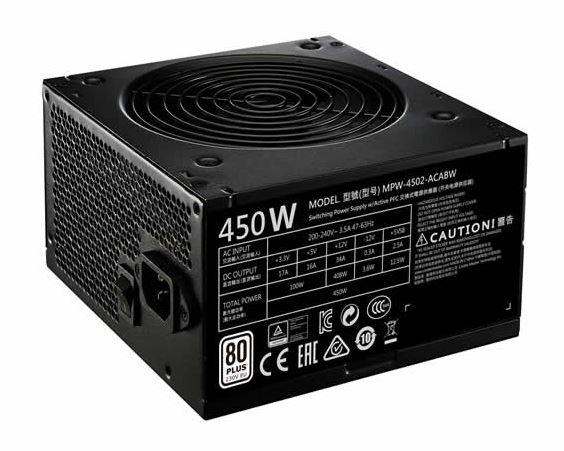 ספק כוח למחשב COOLER MASTER MWE450 80Plus 120mm Silent HDB 450Watt