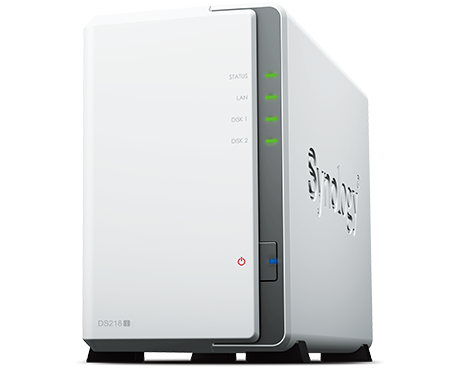 שרת אחסון וגיבוי סינולוג'י Synology DiskStation DS218J NAS Server Marvell Armada 3700 88F3720 Dual Core 1.3GHz 512MB RAM 2 Drive Bays up to 28TB(14TBx2) USB3.0 eSATA