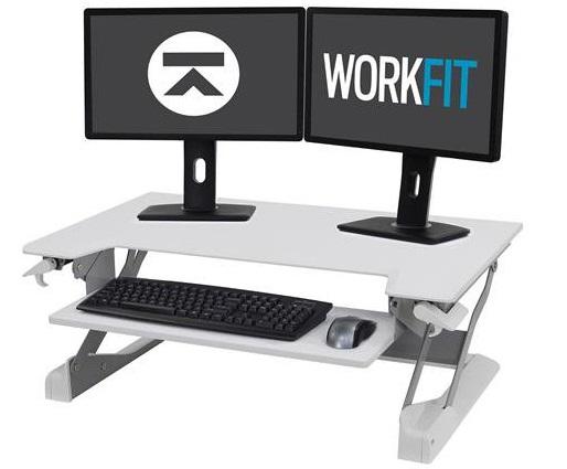 עמדת עבודה שולחנית מתכוונת ישיבה עמידה לנשיאת 2 מסכים ,מקלדת לבן ארגוטרון Ergotron E-33-406-062 WorkFit-TL, Sit-Stand Desktop Workstation