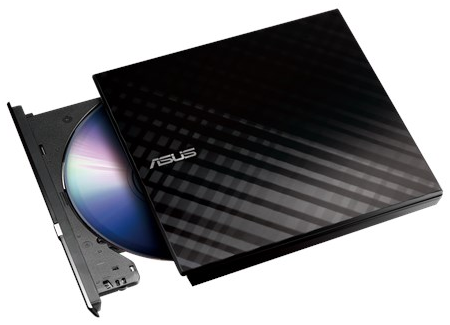 צורב DVD חיצוני דק אסוס שחור Asus SDRW-08D2S-U USB 2.0 Black