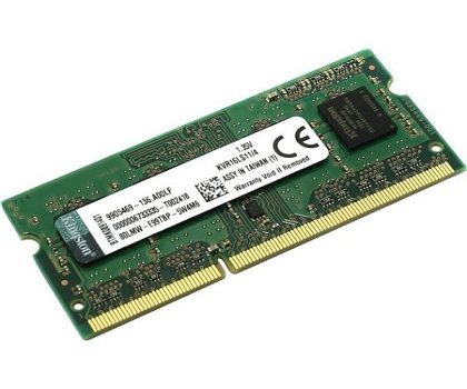 זכרון למחשב נייד קינגסטון Kingston KVR16LS11/4 4GB 1600MHz DDR3 Non-ECC CL11 1.35V SODIMM