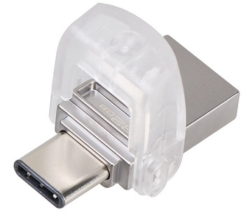 זכרון נייד פלאש קינגסטון להעברת הקבצים מהסמארטפון למחשב Kingston DTDUO3C/128GB microDuo 128GB USB3.0 & USB3.1 Type-c