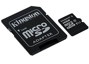 כרטיס זיכרון פלאש קינגסטון Kingston SDCS/16GB Micro SD USH1 C10 UHS-I up to 80MB/s,adapter 16GB