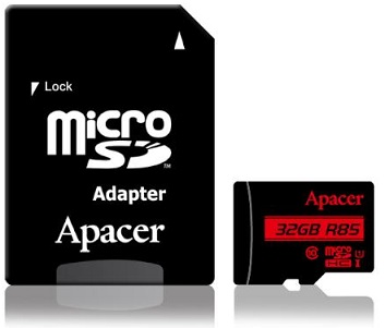 כרטיס זיכרון פלאש Apacer SAP32GMCSH10U5-R Micro SD USH1 C10 UHS-I up to 240MB/s,adapter 32GB
