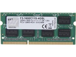 זכרון למחשב נייד ג'יסקיל G Skill F3-1600C11S-4GSL 4GB 1600MHz DDR3 CL11 1.35V