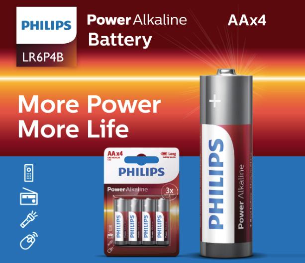 4 סוללות פיליפס AA לא נטענות Philips LR6P4B Alkaline