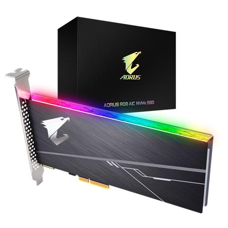 דיסק קשיח פנימי ג'יגהבייט Gigabyte Aorus RGB AIC NVME SSD 1TB Read up to 3480MB Write Up to 3080MB/s PCI Express Card GP-ASACNE2100TTTDR