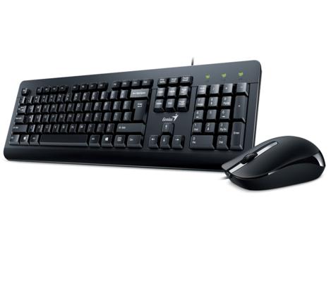 סט מקלדת ועכבר חוטי שלוש שפות עברית,אנגלית,ערבית ג'ניוס Genius KM-160 Set Keyboard + Basic Mouse Black USB