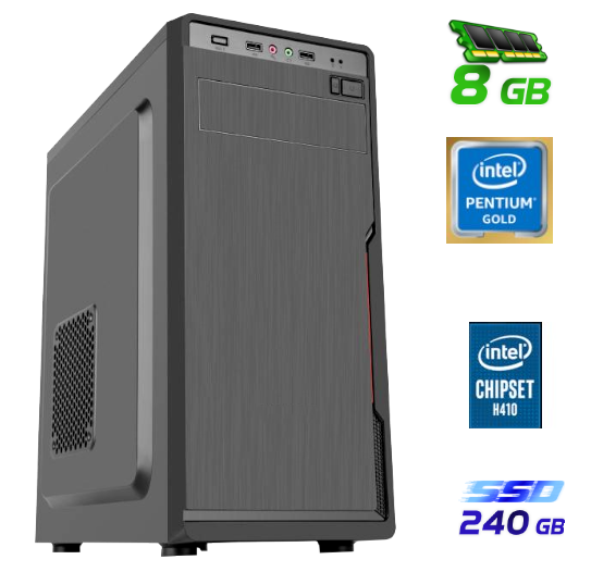 מחשב נייח מעבד אינטל דור 10 Gigabyte GA-H410M S2H Pentium GOLD Dual-Core G6400 4.0GHz SSD 240GB 8GB DDR4 HDMI