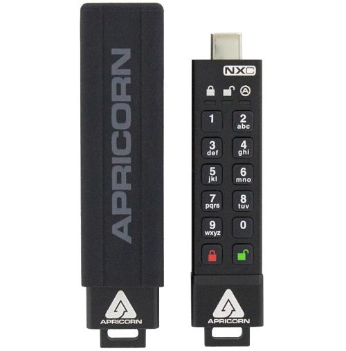 זיכרון נייד פלאש דיסק און קיי מוצפן קשיח Apricorn Aegis Secure Key 3NXC ASK3-NXC-64GB USB 3.2 Type-C Connector 256bit AEX XTS Encrypted 64GB