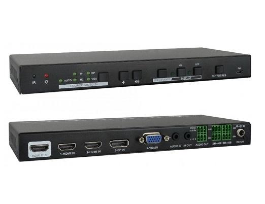 קופסת מיתוג אוטומטית מקצועית GT-HDSW50 לחדר ישיבות עם כניסות 2xHDMI + VGA + DP ויציאת HDMI, עם SCALER ל-4K