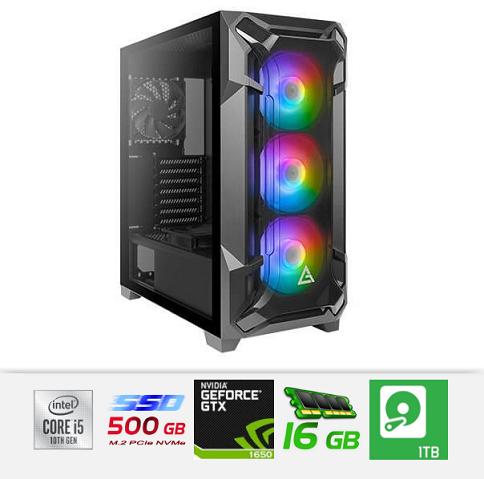 מחשב נייח לגיימרים ג'יגהבייט ועריכה מעבד אינטל דור 10 Gigabyte GA-B460M GAMING HD Antec DF600 FLUX Gaming Case Intel Six Core i5-10400F 4.3GHz SSD 500GB Nvme + 1TB HDD 16GB DDR4 N-Vidia GeForce GTX1650 GV-N1656OC-4GD 4GB GDDR5 HDMI