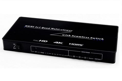 מתאם תצוגה מ-4 כניסות HDMI ליציאה אחת, עם אפשרות לתצוגת מסך מפוצל (HDMI QUAD) + מיתוג SEAMLESS, תומך 4K
