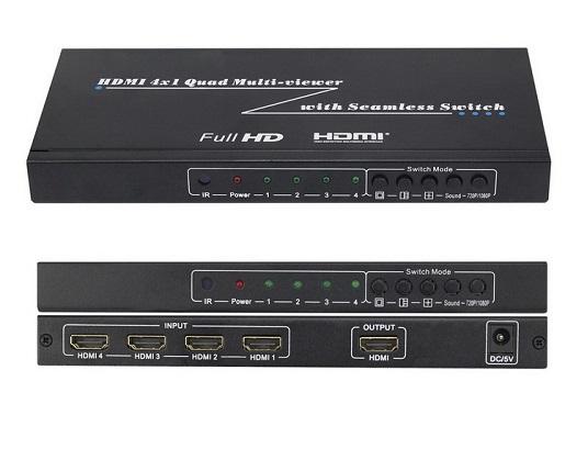 מתאם תצוגה מ-4 כניסות HDMI ליציאה אחת, עם אפשרות לתצוגת מסך מפוצל (HDMI QUAD) + מיתוג SEAMLESS