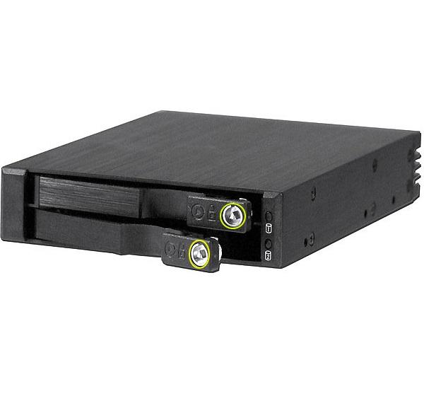 מגירה שליפה ל-2 דיסקים קשיחים עם מנעול SNT SS-21TL 2 x 2.5'' HDD(SSD) SATA-III 6.0Gbit/s, SAS II 6.0Gbit  built on a convenient 3.5'' Aluminium mobile rack