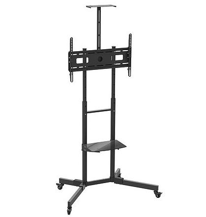 מתקן מעמד סטנד נייד לטלוויזיה עם גלגלים ומדף למסכים עד 80 אינצ' משקל נשיאה 50 ק''ג Barkan SW452 TV Cart with 2 Shelves - Tilt & Vertical Adjustment